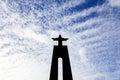 Silhouette of the Cristo-Rei or King Christ Sanctuary in Almada Royalty Free Stock Photo