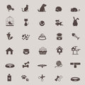 Silhouette cute animal and pet shop tool icon design set for sho Royalty Free Stock Photo