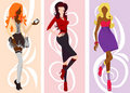 Silhouette cute fashion women Royalty Free Stock Photos