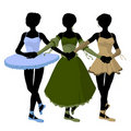 Silhouette d'illustration de trois ballerines Photos libres de droits