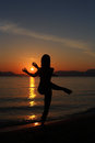 Silhouette of a dancer in the beach Royalty Free Stock Photo