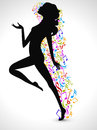 Silhouette of a dancing girl with musical notes.