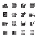 Silhouette database and table formatting icons vector icon set Royalty Free Stock Image