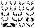 Silhouette of deer and elk antlers. Horns. Vector illustration on white isolated background Royalty Free Stock Photo
