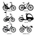 Silhouette of different bicycles for children, man and woman. Vector monochrome illustrations Royalty Free Stock Photo