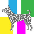 Silhouette of a dog in the style of pop art in pink, blue, yellow and green and with traces of paws and bones on the trunk