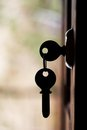 Silhouette of door keys hanging on the open door Royalty Free Stock Image