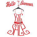 Silhouette of dress  from words Big sale.Hello summer Royalty Free Stock Photo