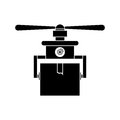Silhouette drone carrying box with one airscrew vector illustration Royalty Free Stock Photos