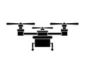Silhouette drone with three airscrew and train of landing vector illustration Stock Photography