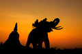 Silhouette of elephants Stock Image