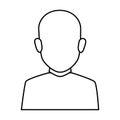 Silhouette faceless half body brunette bald man