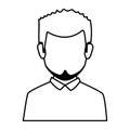 Silhouette faceless half body man with beard