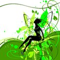 Silhouette of fairy in flower Stock Images