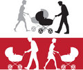 Silhouette of a family with a baby stroller Royalty Free Stock Photo