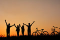 Silhouette of family with bicycle on grass field