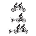 Silhouette of family on bicycles bicycle and tandem bicycle various kinds Royalty Free Stock Image