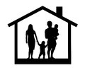 Silhouette of a family with children in the house, vector illustration. Royalty Free Stock Photo