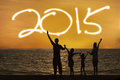 Silhouette of family enjoy new year Royalty Free Stock Photo