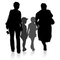 Silhouette of family, mother and children and