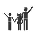 silhouette family parent son daughter hands hold Royalty Free Stock Photo