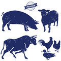 Silhouette of farm animals Royalty Free Stock Photo