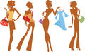 Silhouette of fashion girl with bags and dress vector illustration ofsilhouette shopping girls Stock Images
