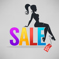 Silhouette of fashionable girl sitting on SALE letters