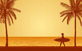 Silhouette female surfer carrying surfboard on beach under sunset sky background in flat icon design Royalty Free Stock Photo