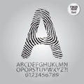 Silhouette fingerprint alphabet and digit vector set of Stock Image