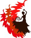 Silhouette of flamenco dancer with fan and castanets Royalty Free Stock Photos