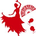 Silhouette of flamenco dancer with fan and castanets Royalty Free Stock Photography