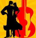 Silhouette of flamenco dancers on abstract red yellow background are couple spanish Stock Image