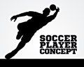Silhouette Football Soccer Goal Keeper Royalty Free Stock Photo