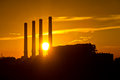Silhouette of gas turbine electrical power plant Royalty Free Stock Photo