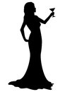 Silhouette girl with cocktail glass illustration of a woman in an evening dress holding available in vector eps format Royalty Free Stock Images