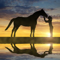 Silhouette of a girl giving a kiss horse Royalty Free Stock Photo