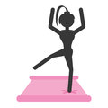 Silhouette girl practicing yoga pink pad Royalty Free Stock Photo