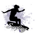 Silhouette of the girl of the surfer against the background of splashes in style grunge Royalty Free Stock Photo