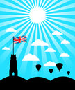 Silhouette of glastonbury tor against a sunny blue sly with balloons Royalty Free Stock Photos