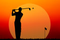 Silhouette golf player on sunset Stock Photography