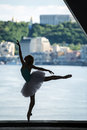 Silhouette of graceful ballerina in white tutu Royalty Free Stock Photo
