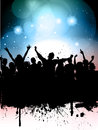 Silhouette grunge crowd party lights background Royalty Free Stock Photos