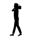Silhouette guy radio music walking Royalty Free Stock Photo