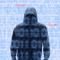 Silhouette of a hacker isloated on white with binary codes background Royalty Free Stock Photo