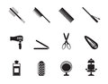 Silhouette hairdressing, coiffure and make-up icons Royalty Free Stock Photo