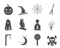Silhouette halloween icon pack  with bat, pumpkin, witch, ghost, hat Royalty Free Stock Photo