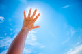 Silhouette of a Hand against a Sunset Royalty Free Stock Photo