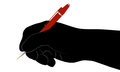 Silhouette of a hand with a red a fountain pen Royalty Free Stock Photo