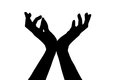 Silhouette of hands isolated on white background